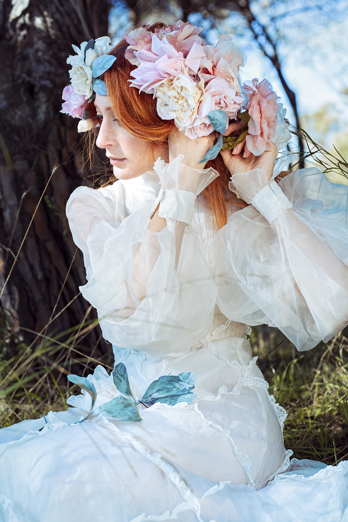 Model boho style in the nature flowers bride